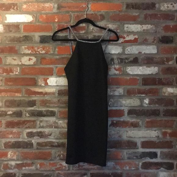 Topshop Dresses Mini Black Dress With Rhinestone Straps Poshmark